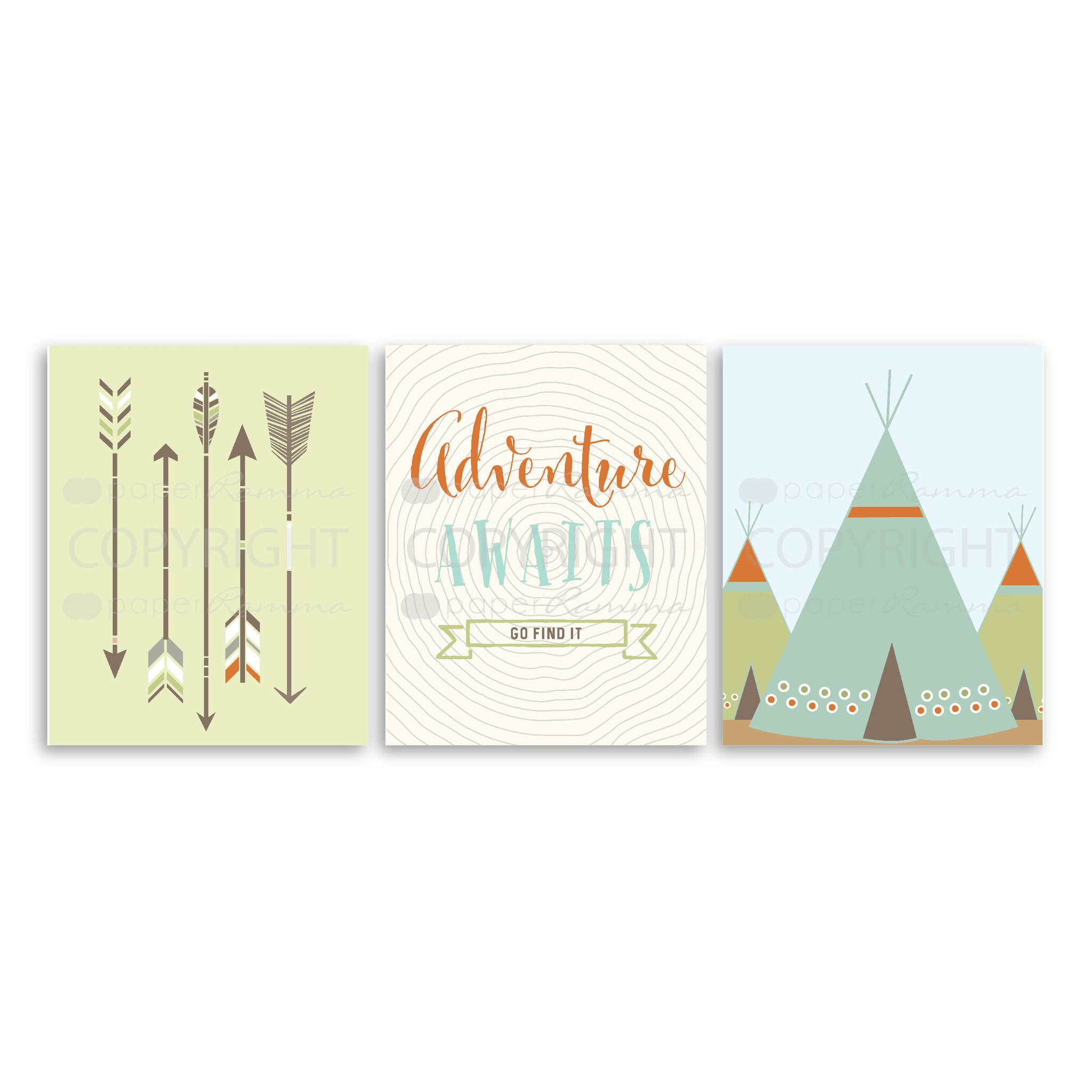 Adventure Awaits Tribal Nursery & Kids Art Print Set