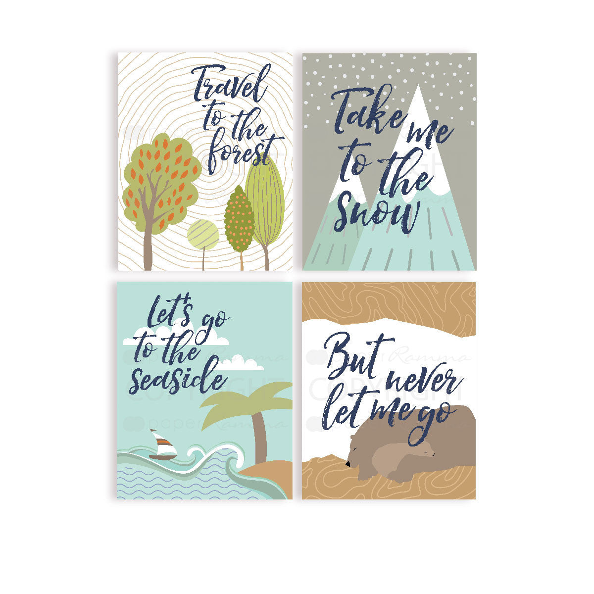 Travel To The Forest Adventure Nursery & Kids Art Print Set