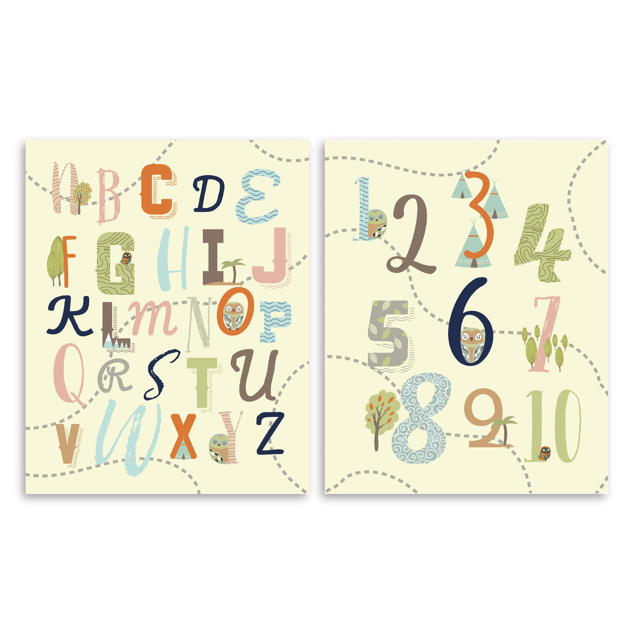 Adventure Nursery ABC & 123 Nursery & Kids Art Print Set