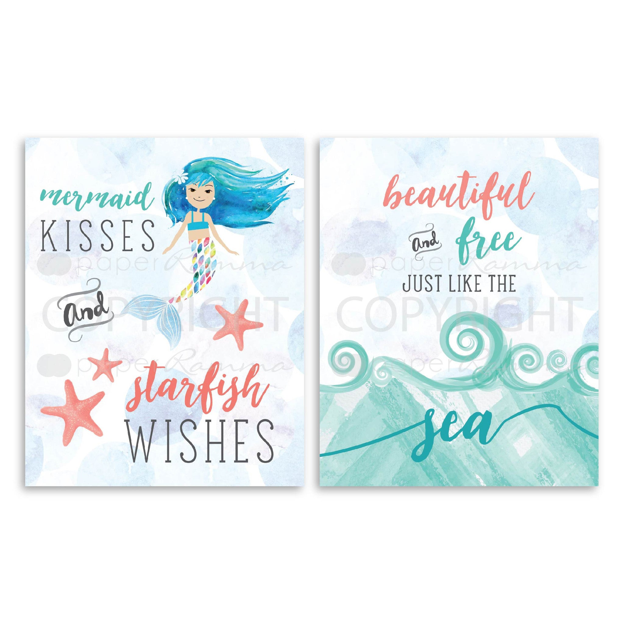 Mermaid Nursery & Kids Art Print Set