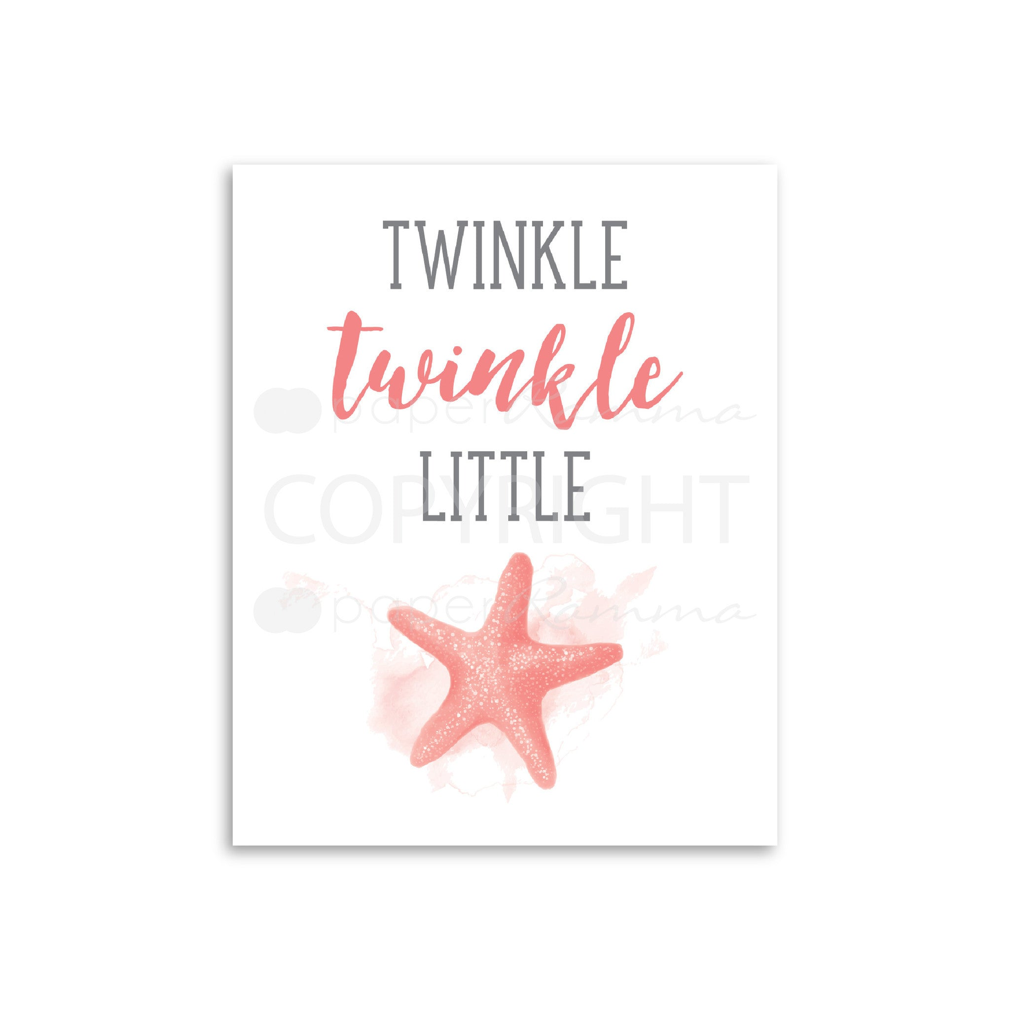 Twinkle Twinkle little 'Starfish' Quote Nursery & Kids Art Print