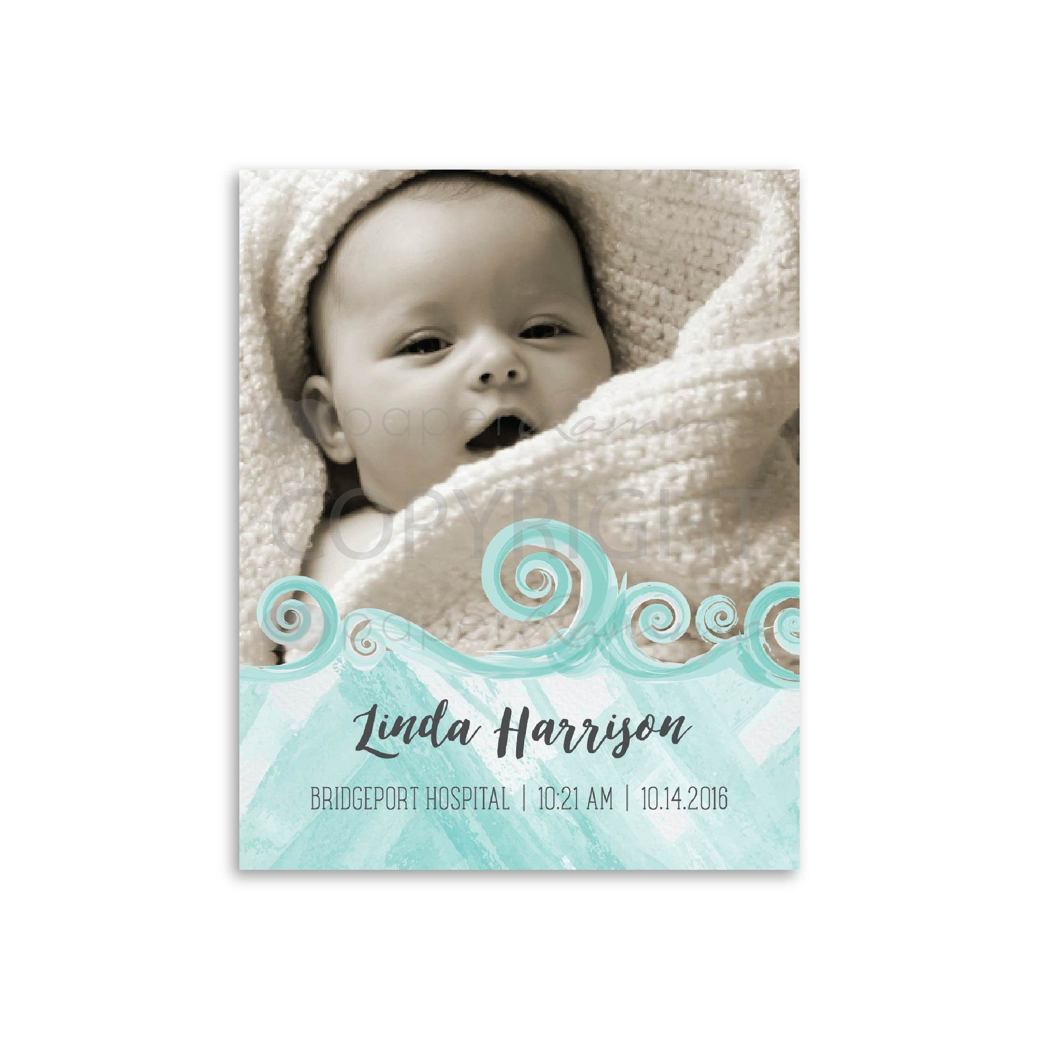 Nautical Baby Birth Announcement<br> <small> <i> Photo Quote Print </i> </br> <small> available in 8x10 - 20x30 </small>