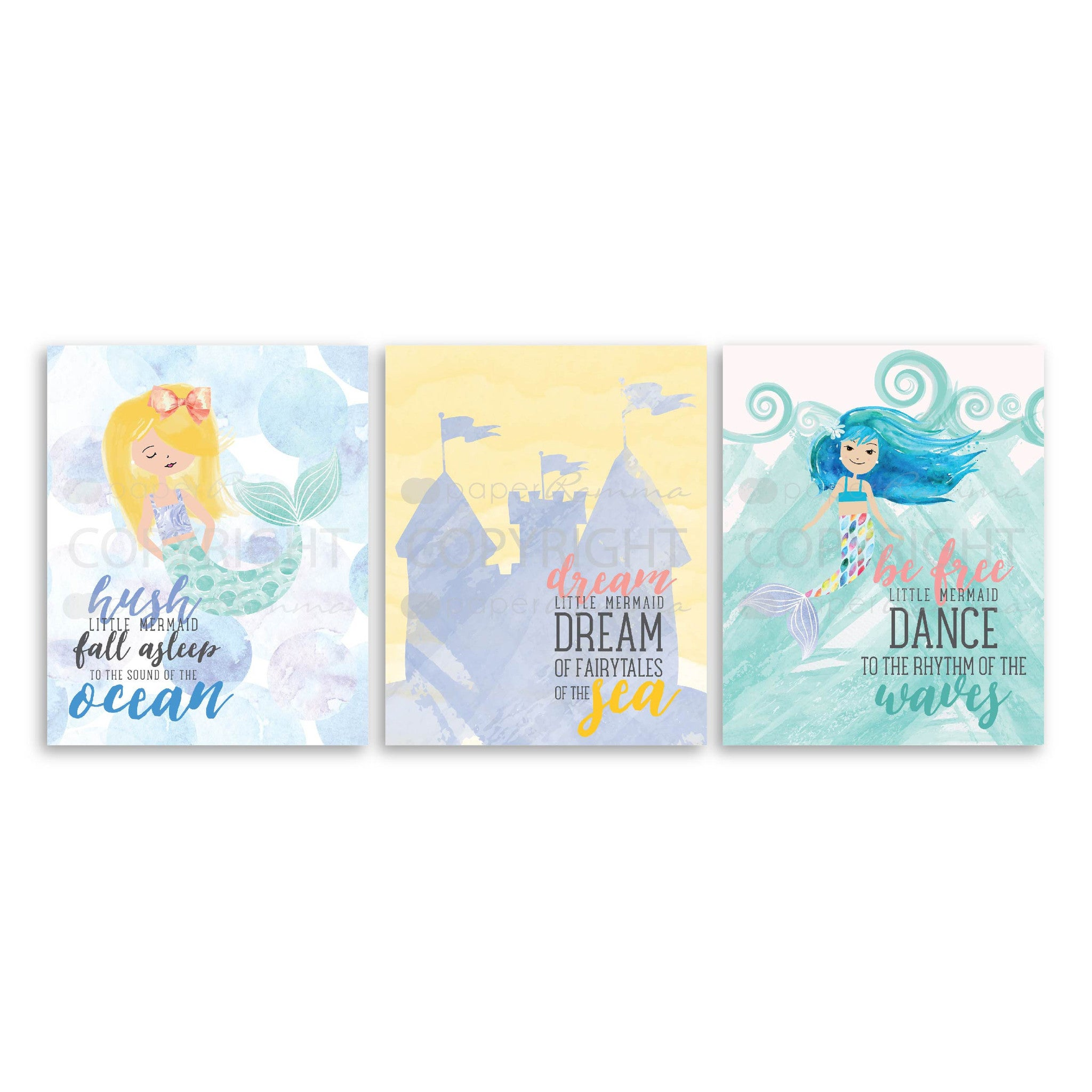 Set of 3 Mermaid Watercolor Prints</br> <small> <i> Nursery & Kids Art Print Set</i> </br> <small> available in 5x7 - 20x30 </small>