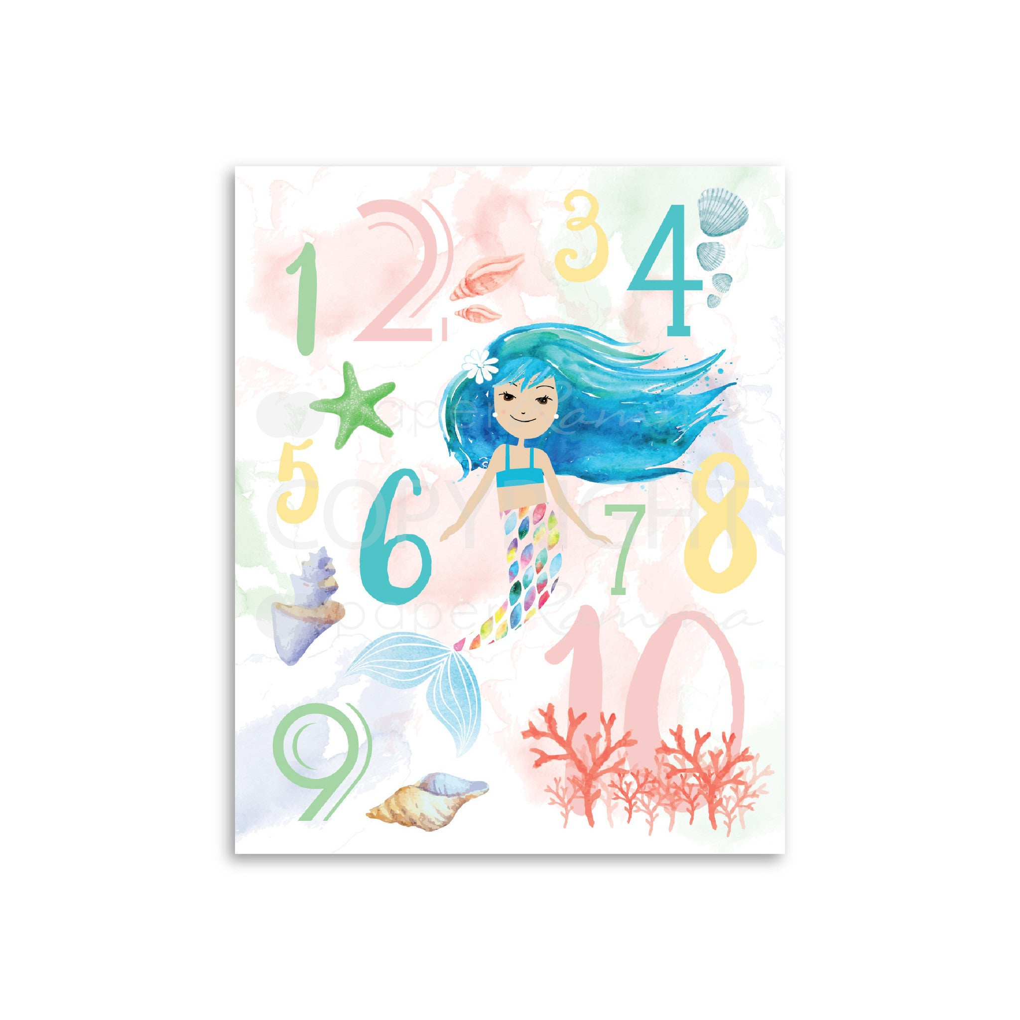 Mermaid Number Art Nursery & Kids Art Print