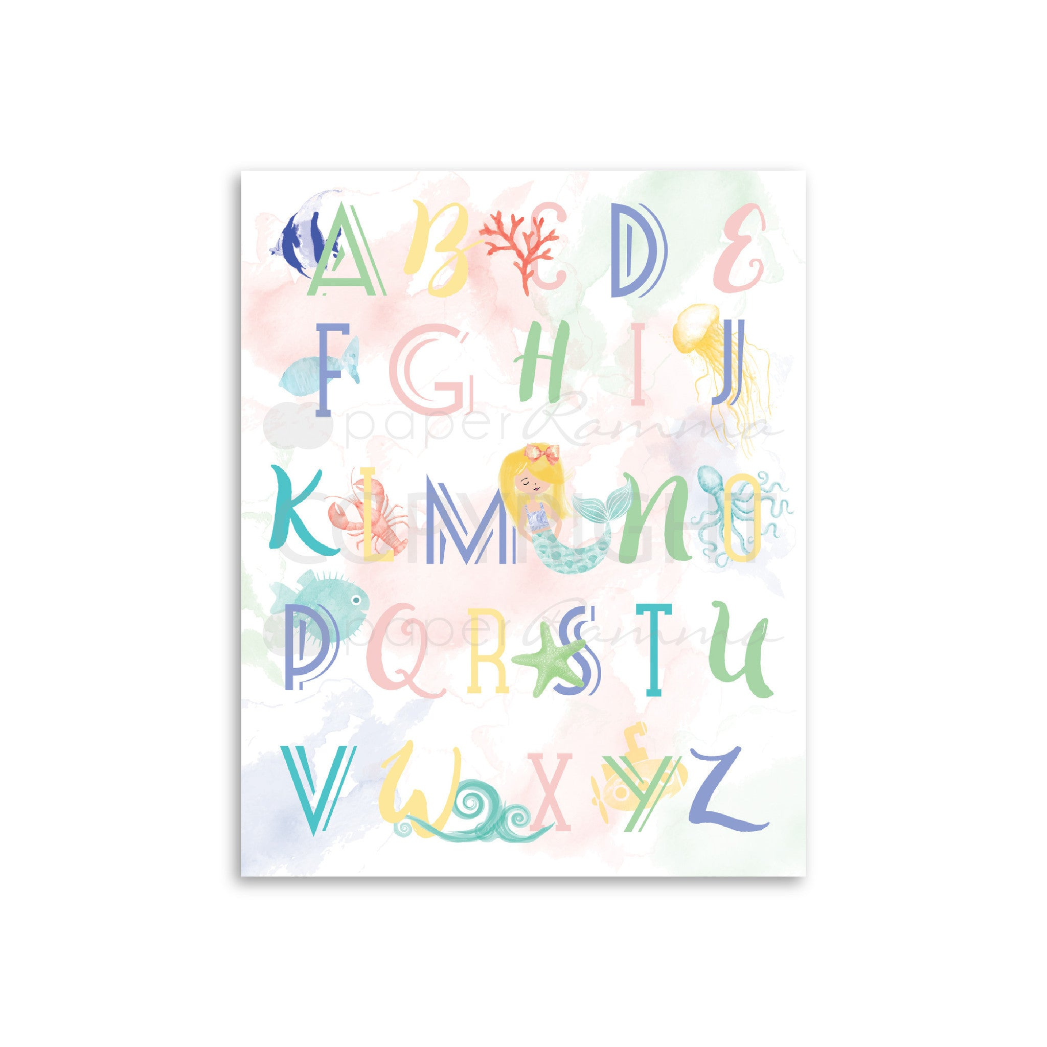 ABC Mermaid Nursery & Kids Art Print Set