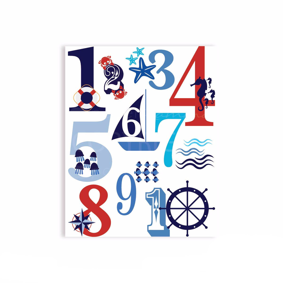 Nautical Number Jumble Art</br> <small> <i> Nursery & Kids Art Print </i> </br> <small> available in 5x7 - 20x30 </small>
