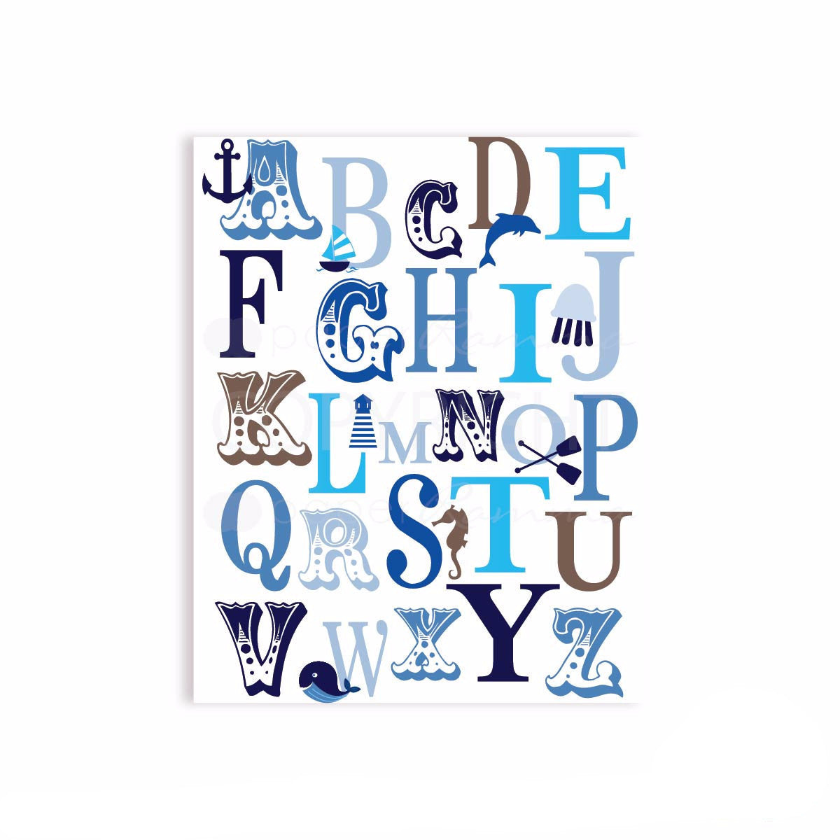 Ocean Nautical ABC and 123 Typography Nursery & Kids Art Print