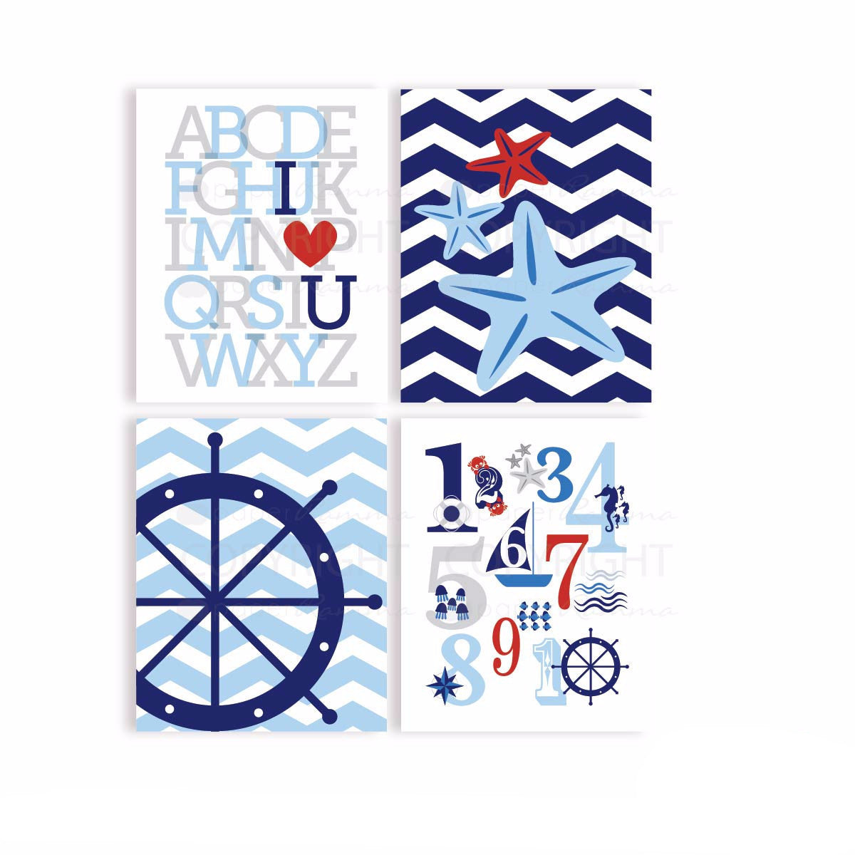 Nautical Chevron Nursery & Kids Art Print Set