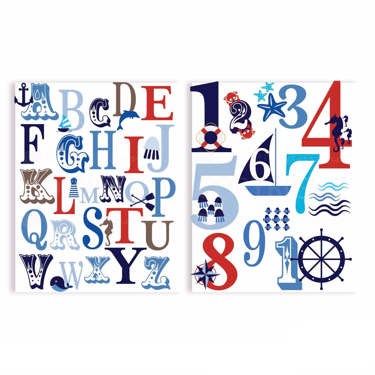 Ocean Nautical ABC and 123 Typography Nursery & Kids Art Print Set