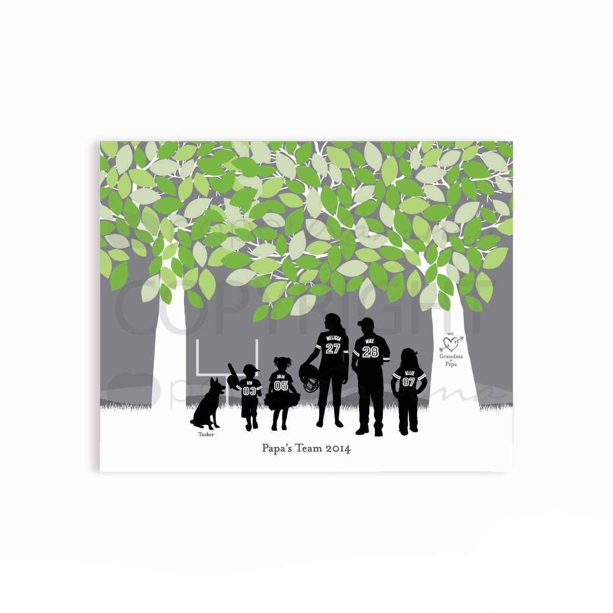 Papa's Football Team Silhouette Print