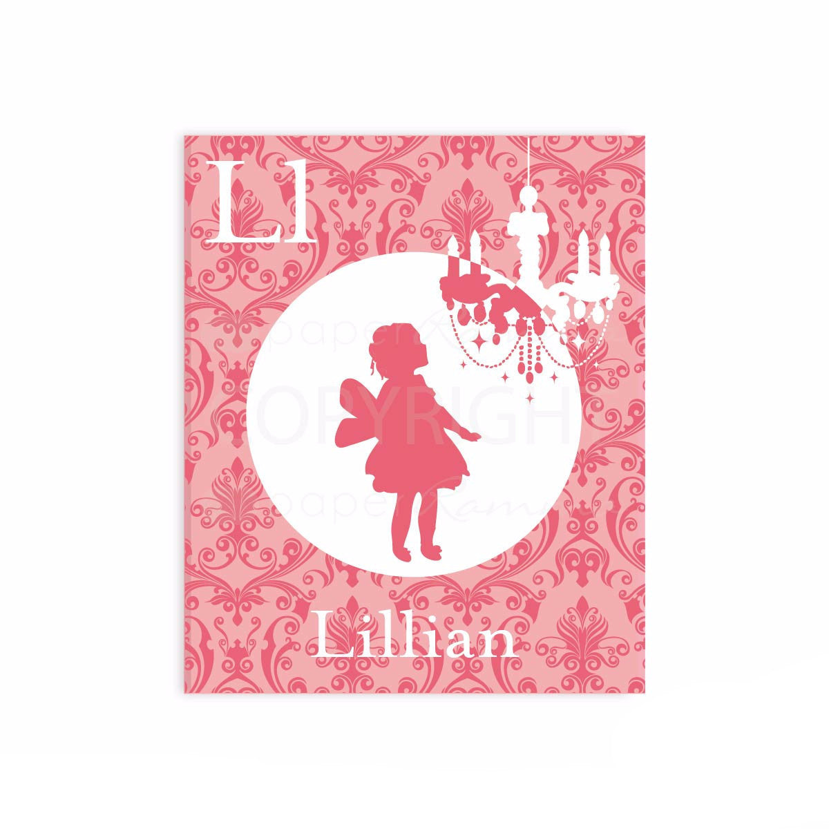 Personalized Silhouette Art, Damask and Chandelier </br> <small> <i> Nursery & Kids Art Print </i> </br> <small> available in 5x7 - 20x30 </small>