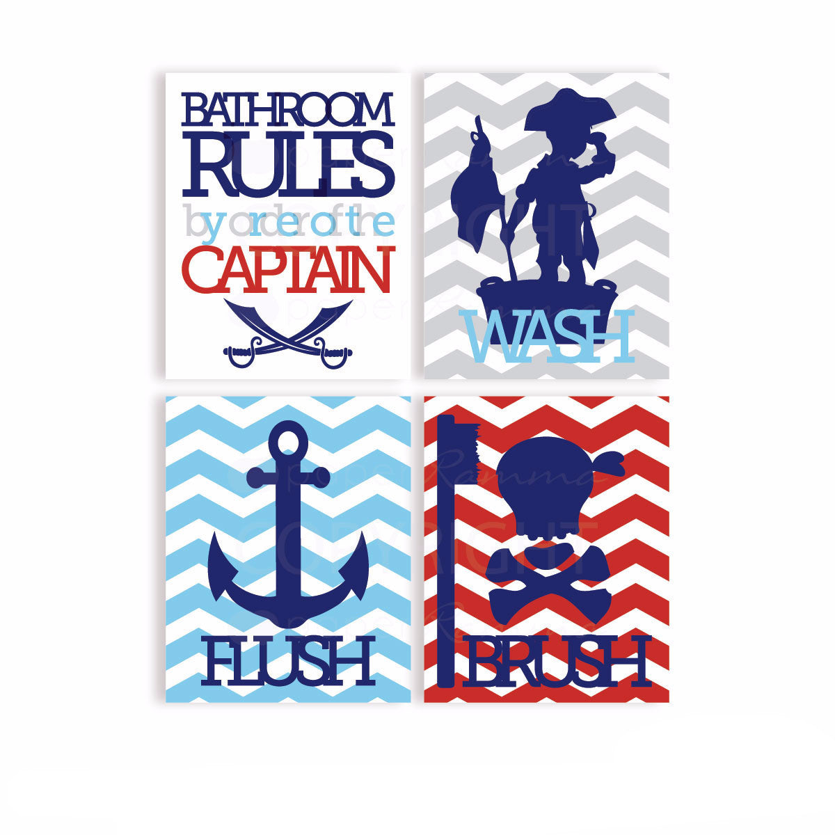Pirate Bathroom Rules Decor</br> <small> <i> Nursery & Kids Art Print Set </i> </br> <small> available in 5x7 - 20x30 </small>