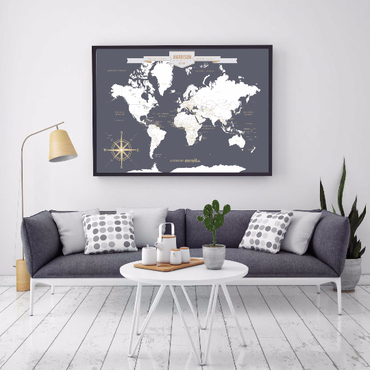Push Pin Travel Map World Map Canvas Travel Canvas Map