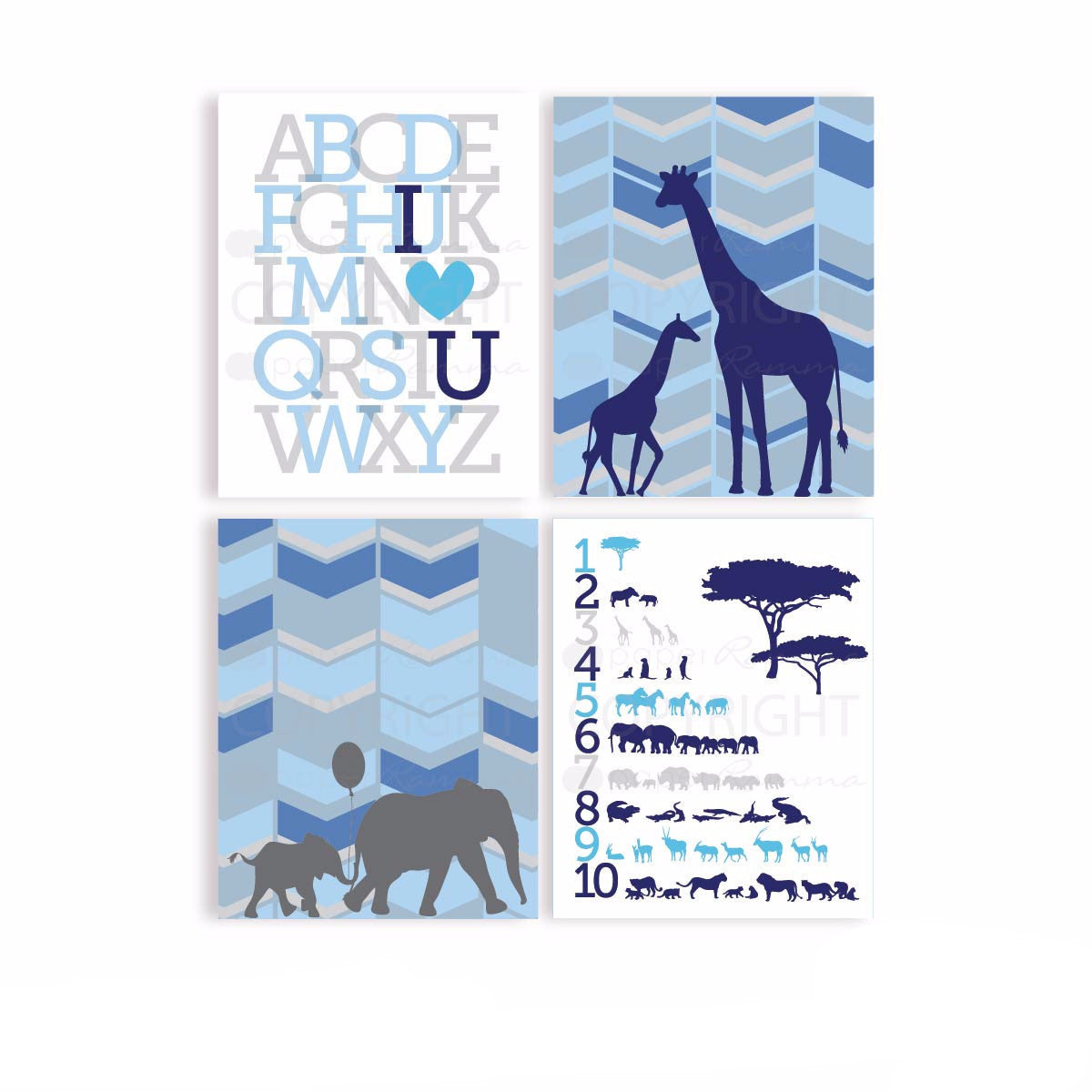 Modern Safari Nursery & Kids Art Print Set