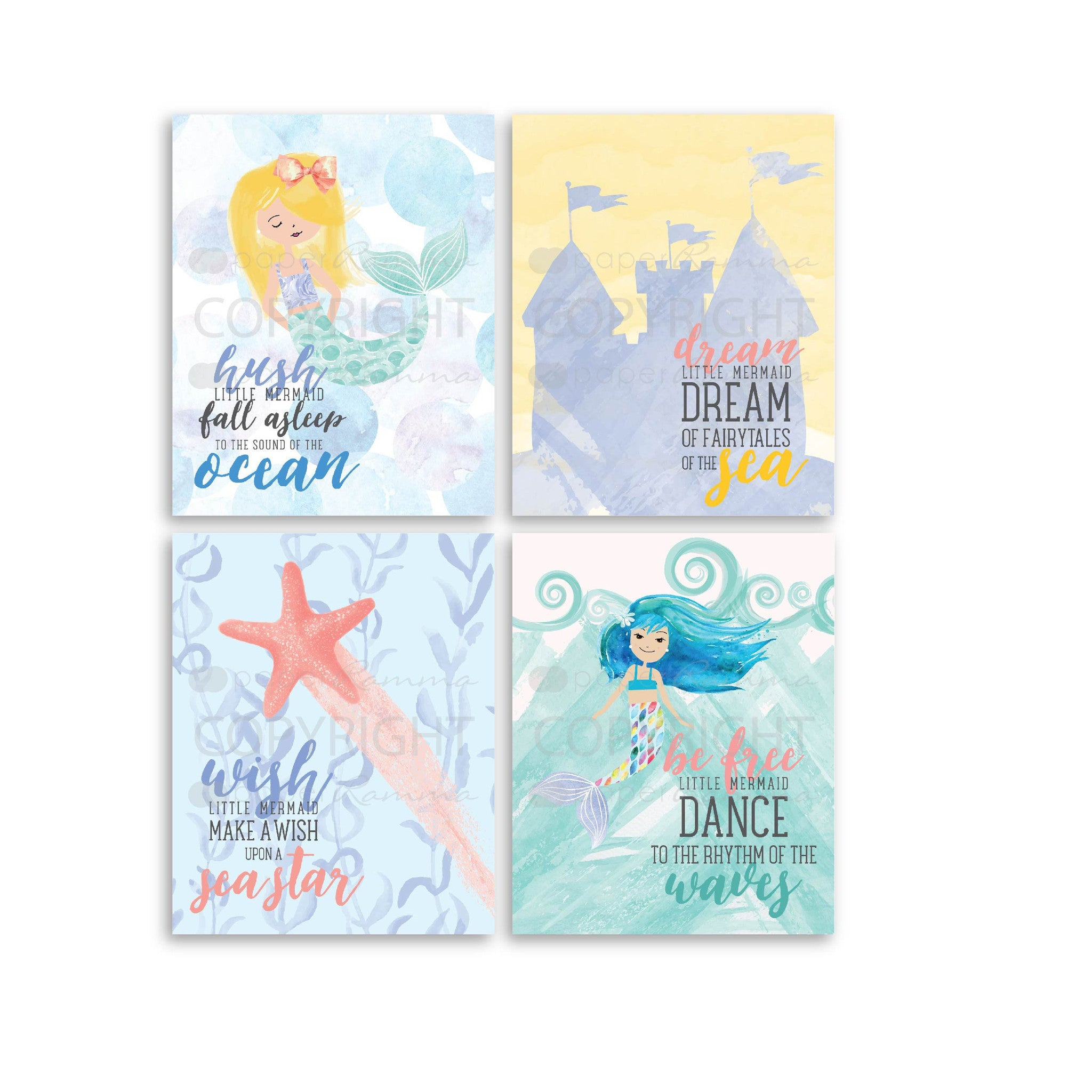 Nautical Mermaid Nursery & Kids Art Print Set