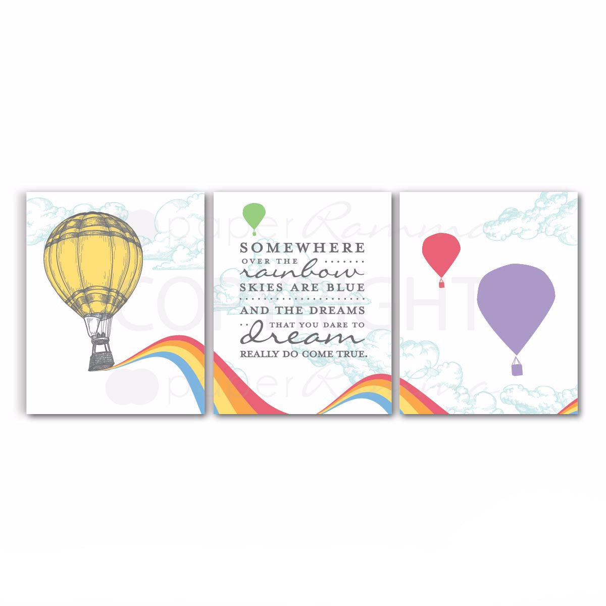 Somewhere Over the Rainbow Nursery & Kids Art Print