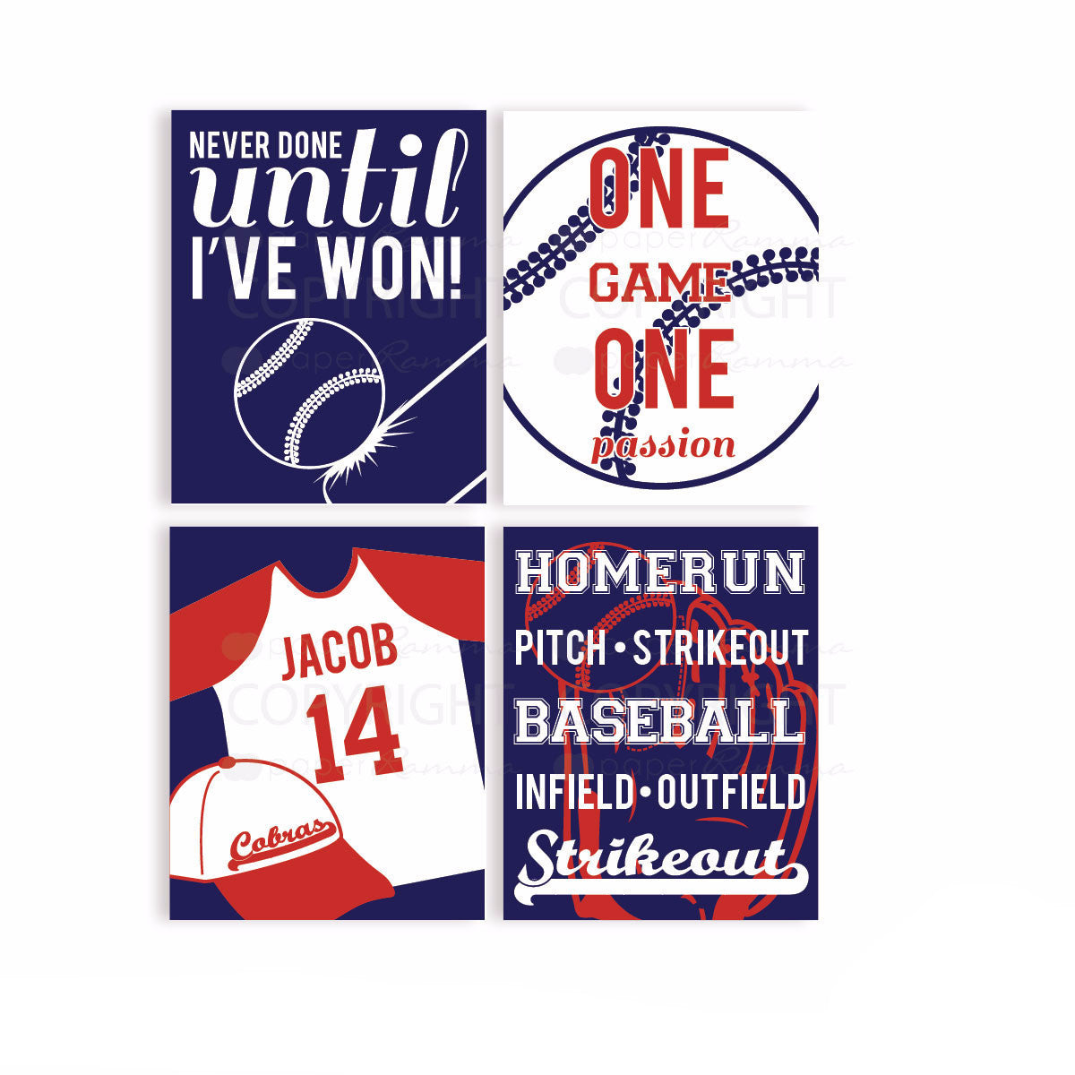 Baseball All-Star Kids Room Decor <br> <small> <i> Nursery & Kids Art Print Set </i> </br> <small> available in 5x7 - 20x30 </small>