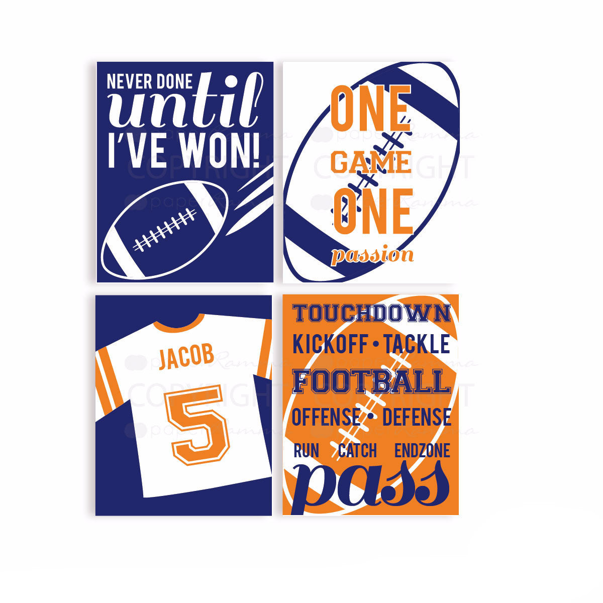 Boys Football Room Nursery & Kids Art Print Set