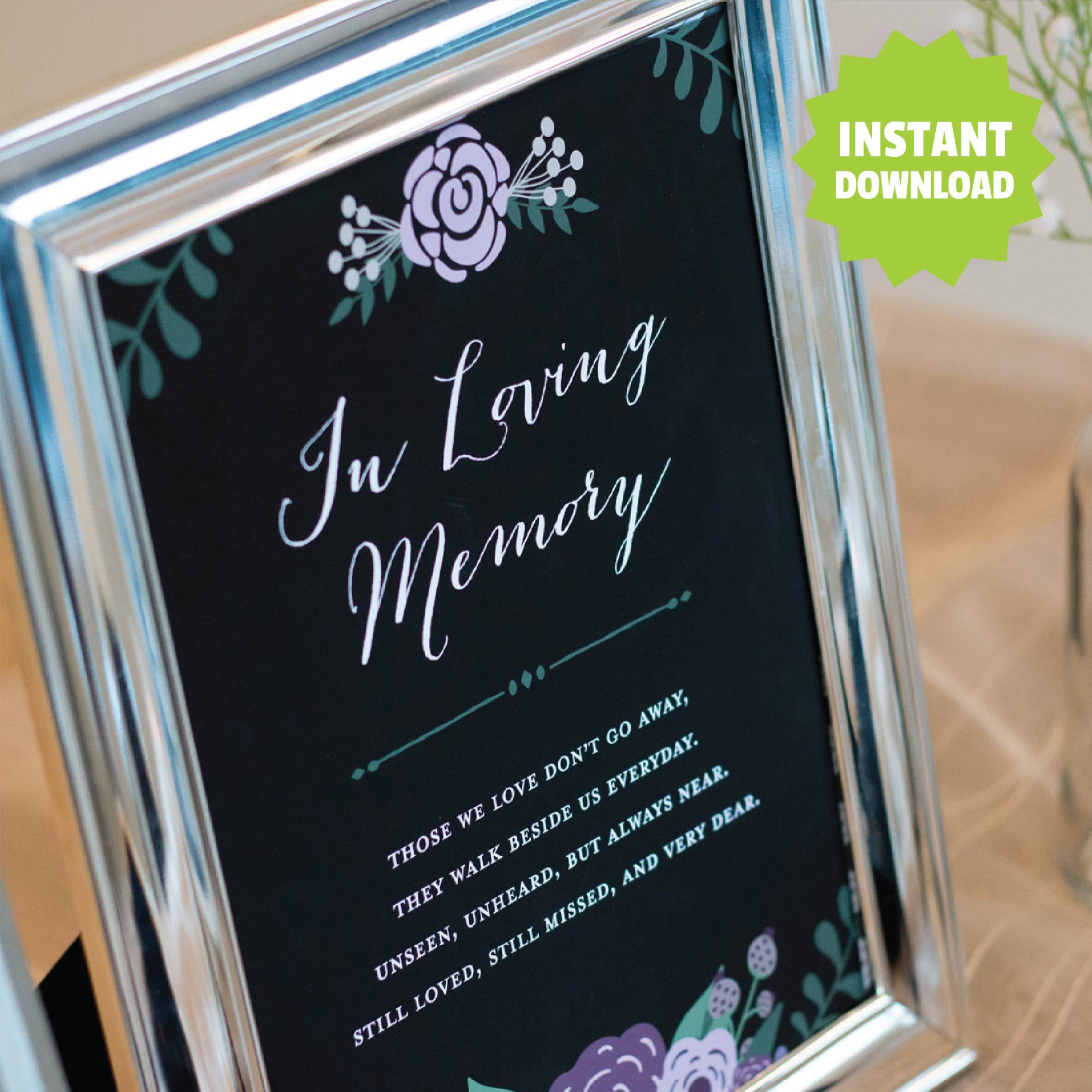 Modern Wedding Memorial Sign, Instant Download <br> <small> <i> Digital Download </i> </br> <small> available in 8x10 - 11x14 </small>