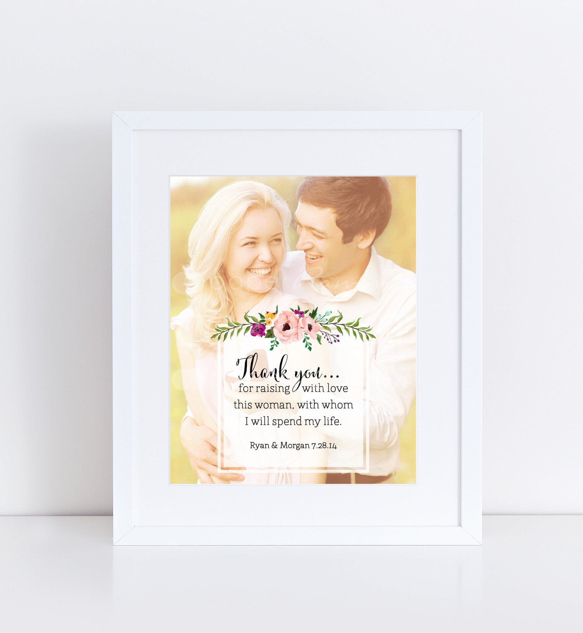 Custom Wedding Gift for Parents, Photo Quote Print