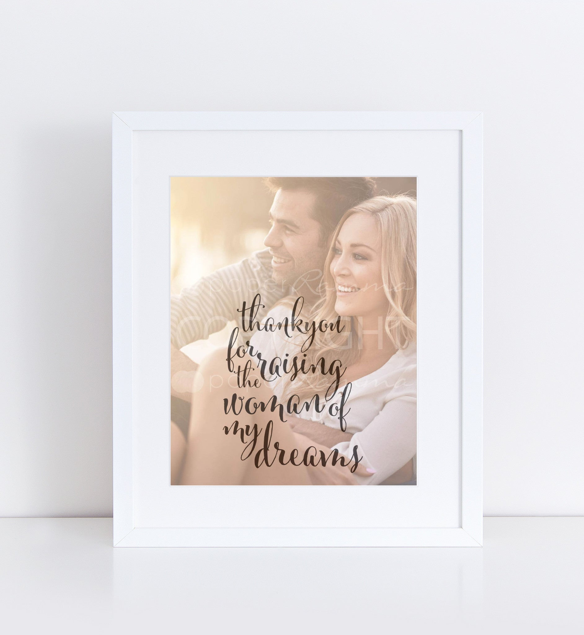 Parents of the Bride Gift Personalized Photo Quote