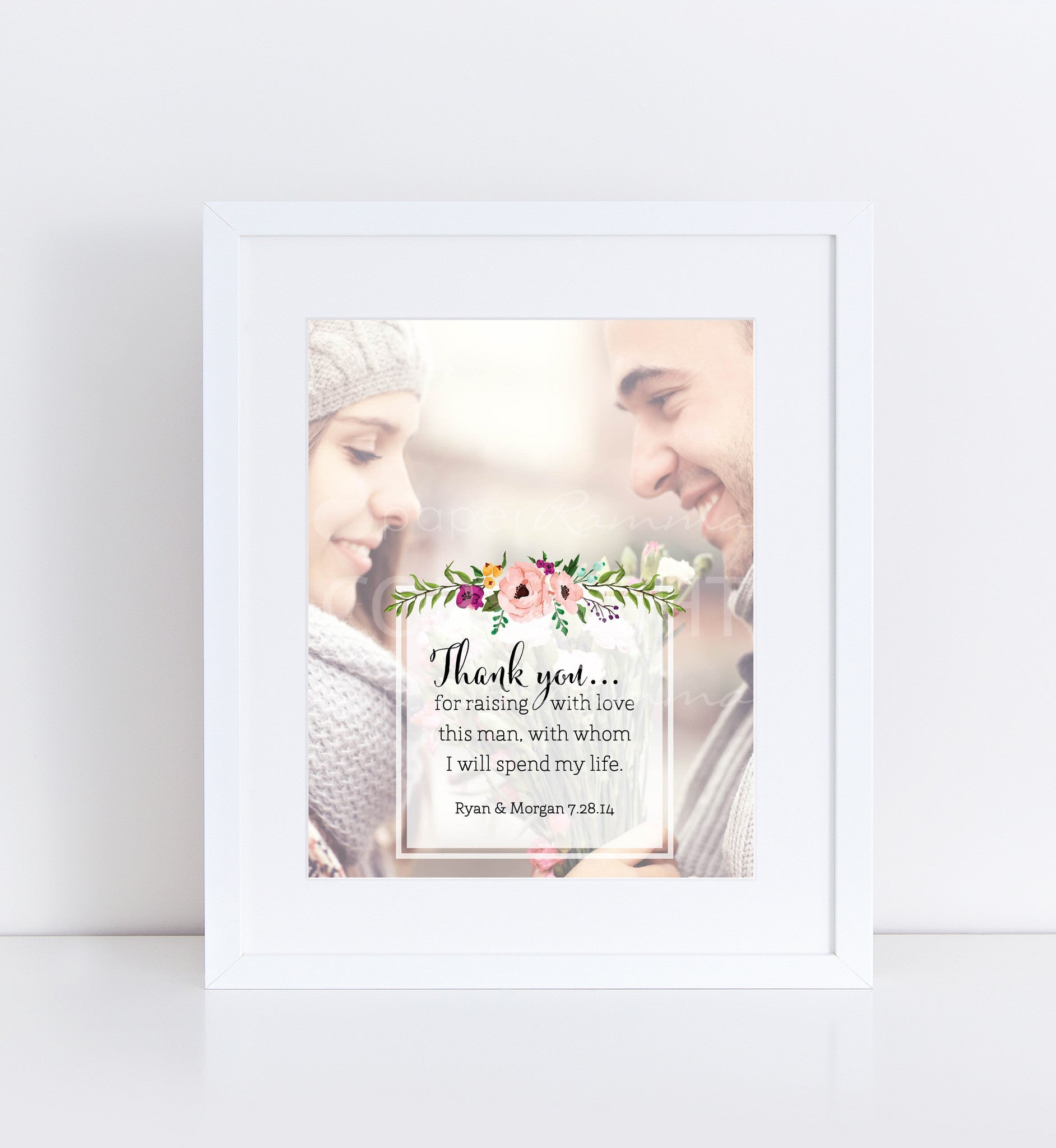 Parents Wedding Gift Personalized Photo Quote