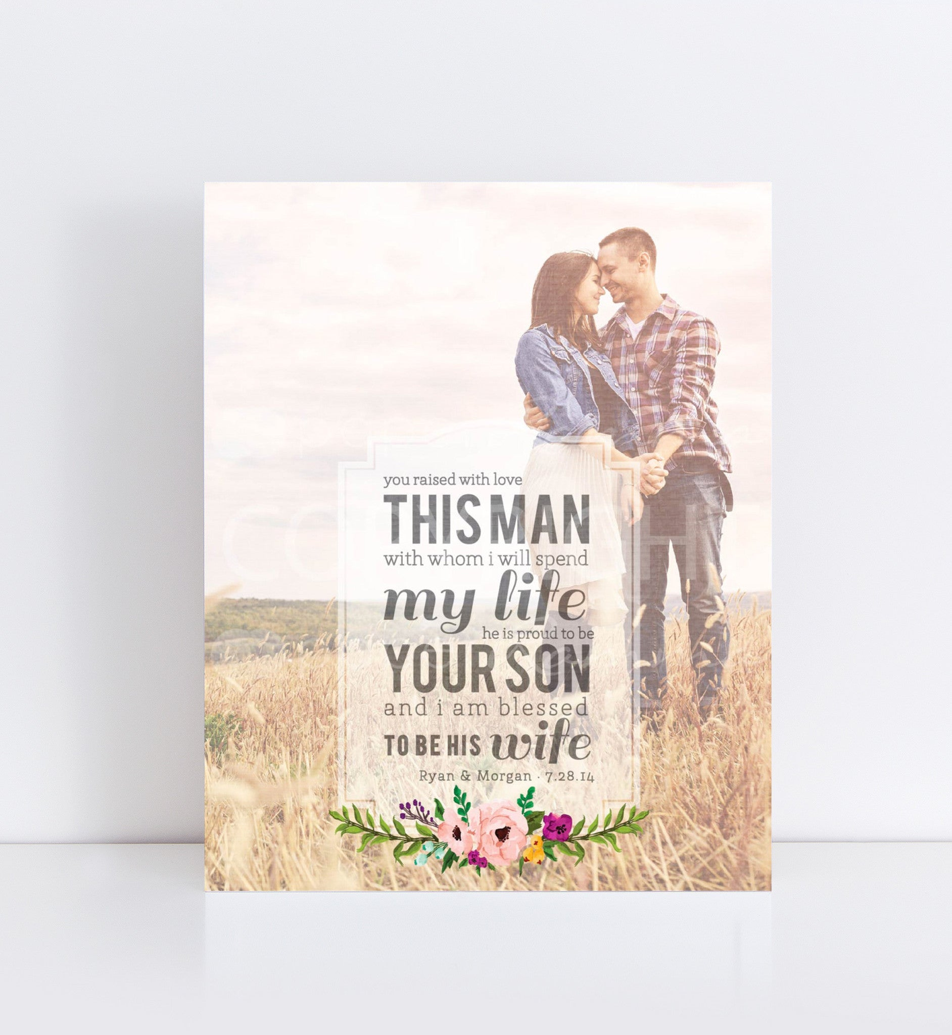 Wedding Gifts Parents: Man Of My Dreams Parent's Wedding Gift Photo Quote