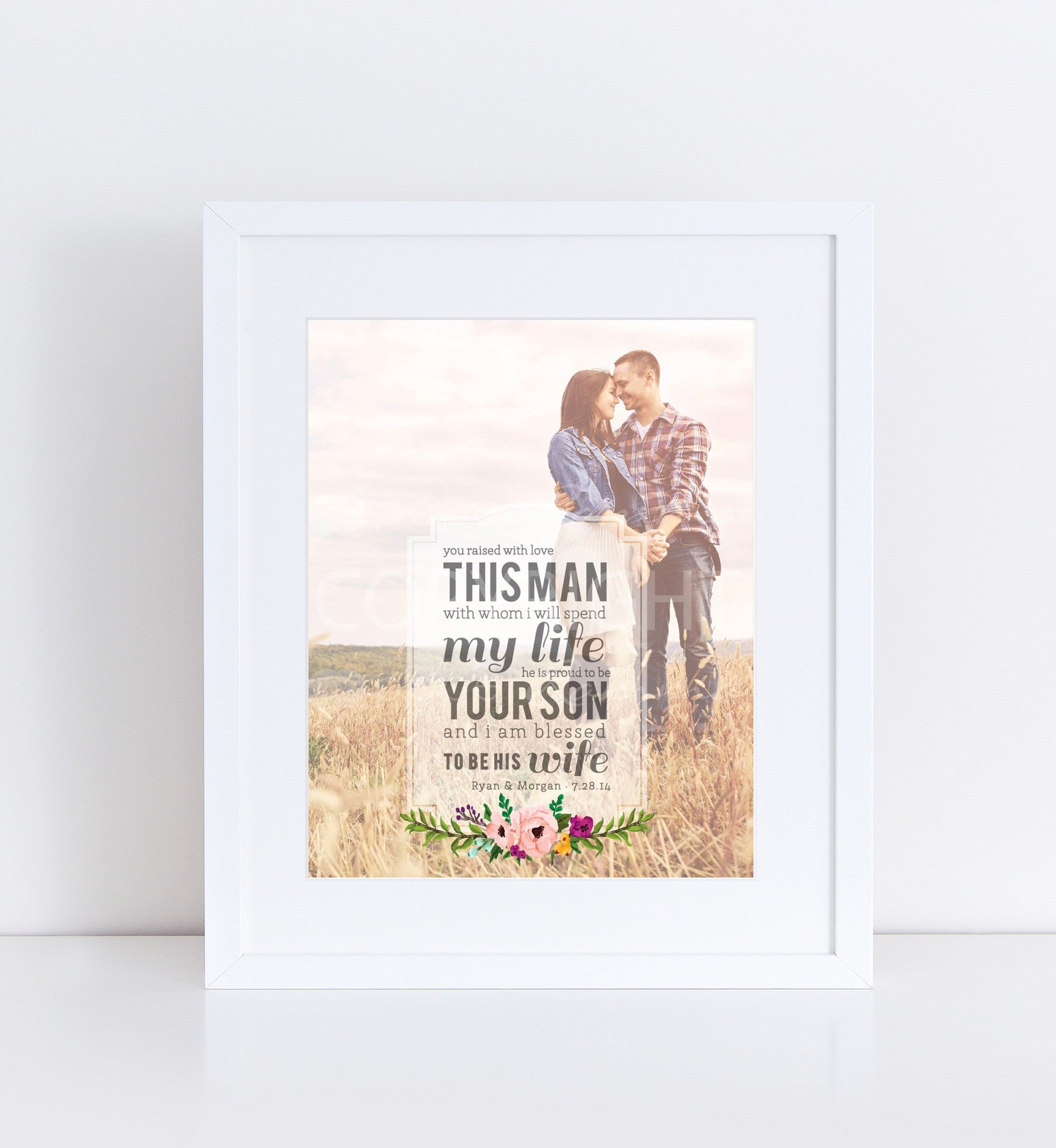 Man of my dreams parent 39 s wedding gift photo quote for Best gifts for parents for wedding