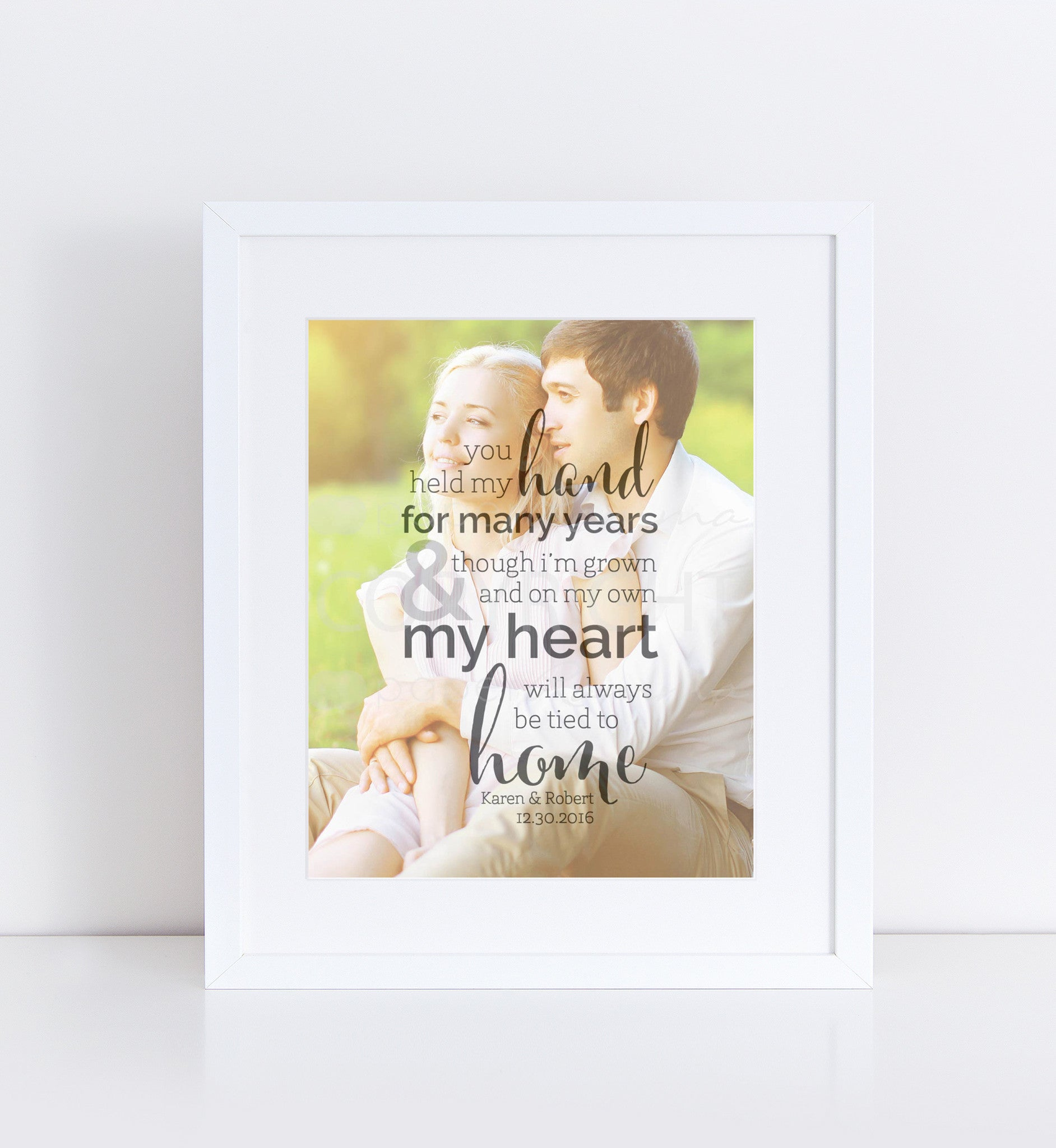 Personalized Gift for Parents, Thank You Wedding Gift, Grooms Parents, Brides Parents<br> <small> <i> Photo Quote Print </i> </br> <small> available in 8x10 - 20x30 </small>