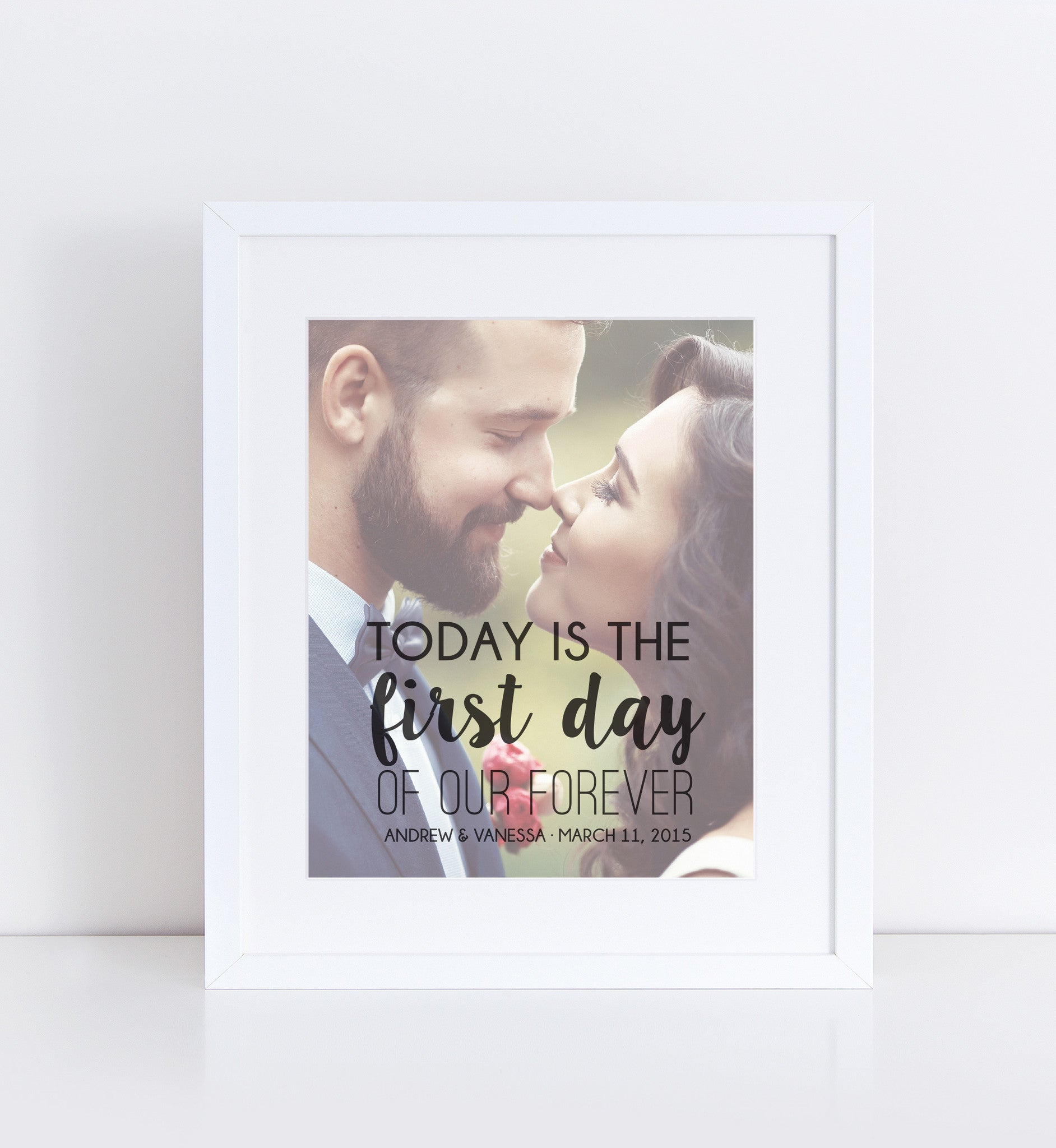 First Day of Our Forever Photo Quote, Personalized Photo Gifts