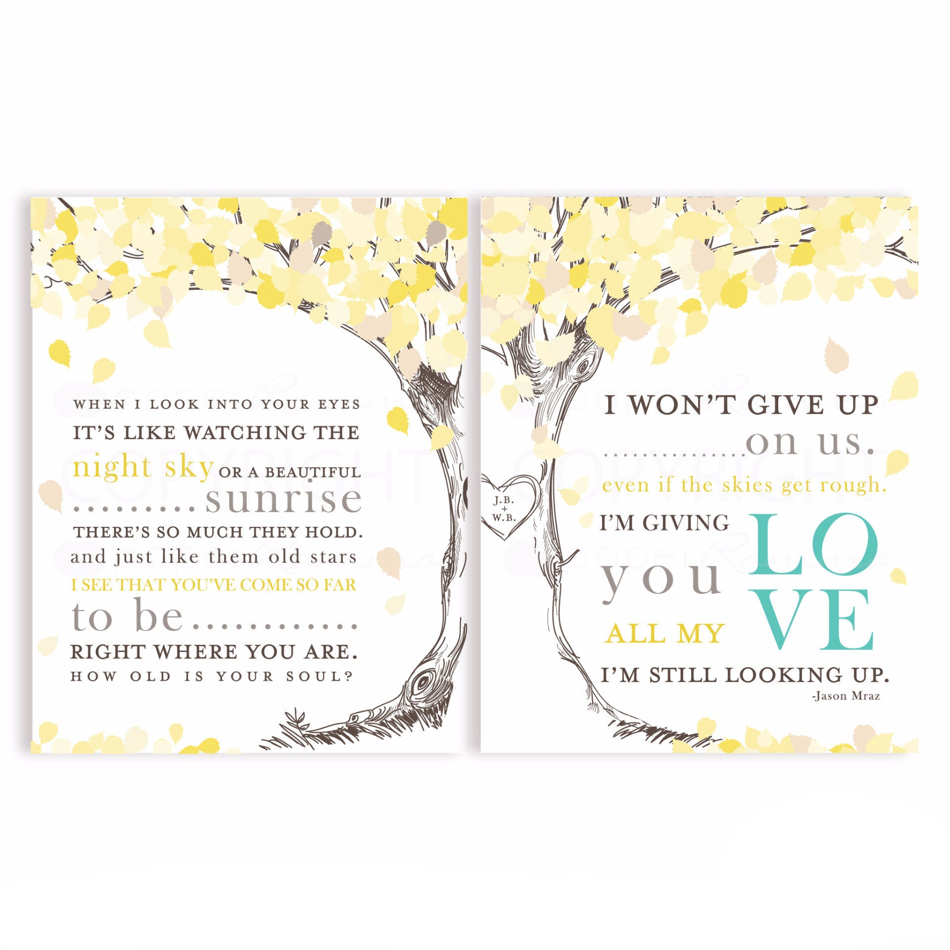 Jason Mraz Lyric Anniversary Present <br> <small> <i> Wedding Art Print </i> </br> <small> available in 8x10 - 20x30 </small>