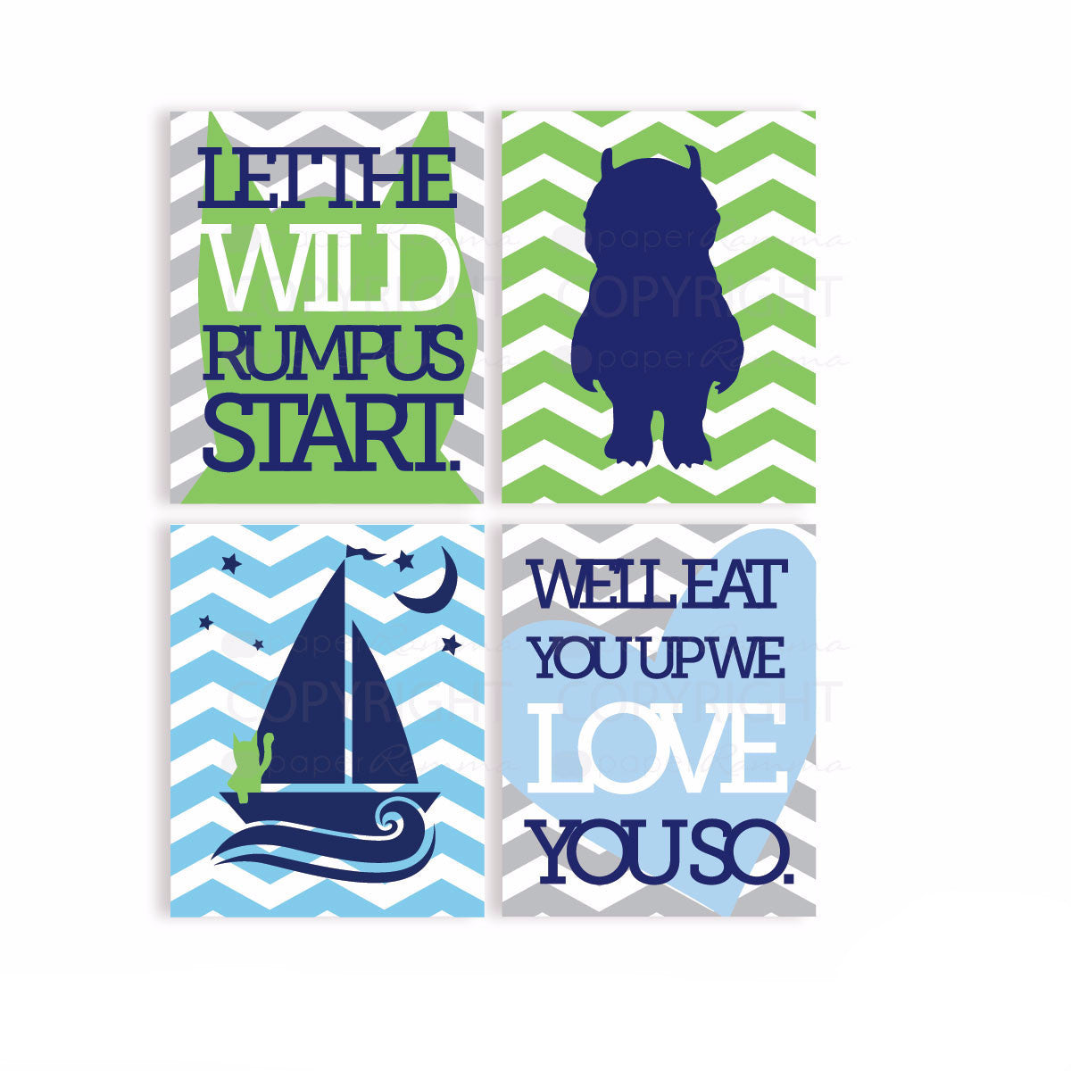 Where the Wild things are Nursery & Kids Art Print Set
