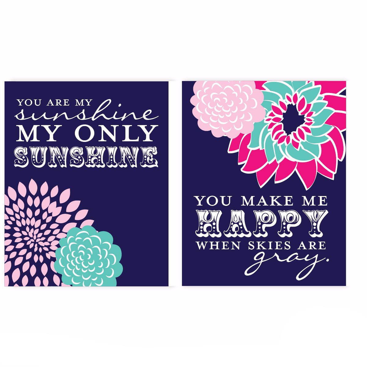 Navy Sunshine Flower Nursery & Kids Art Print Set