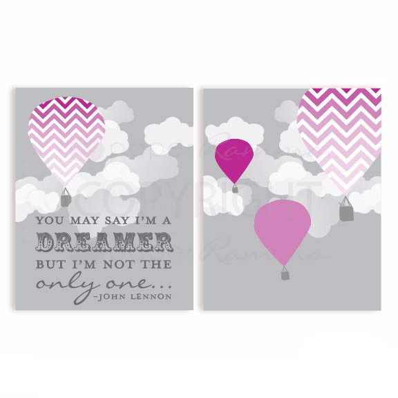 Purple Girl Nursery Hot Air Balloon Nursery & Kids Art Print Set