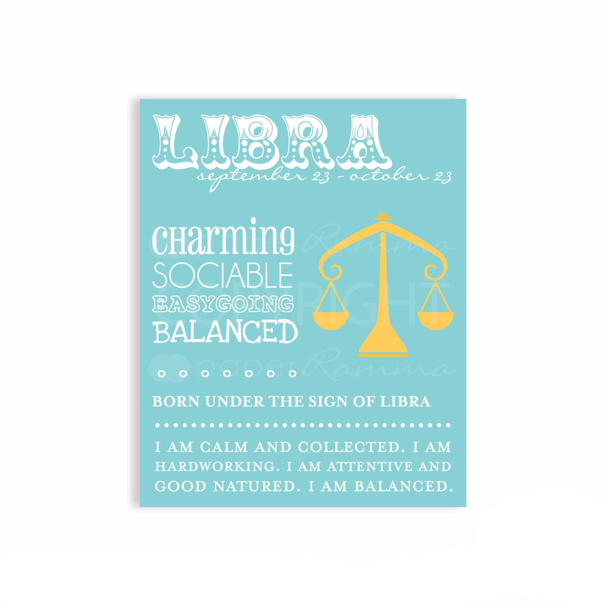 Nursery Zodiac Libra Print</br> <small> <i> Nursery & Kids Art Print </i> </br> <small> available in 5x7 - 20x30 </small>