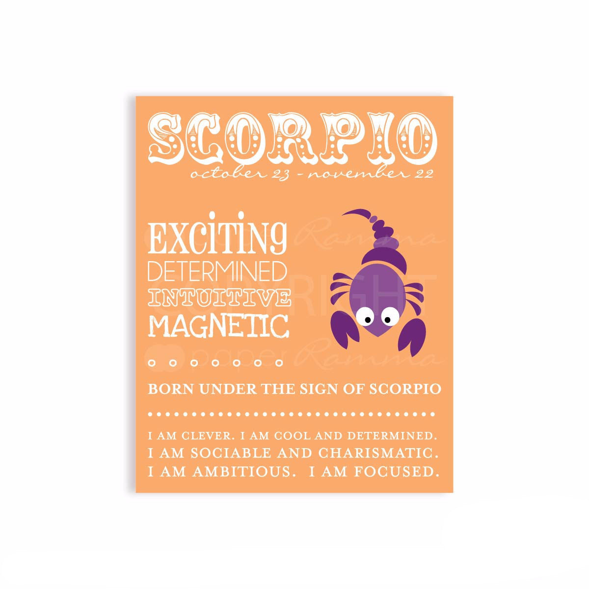 Zodiac Scorpio Nursery Print</br> <small> <i> Nursery & Kids Art Print </i> </br> <small> available in 5x7 - 20x30 </small>