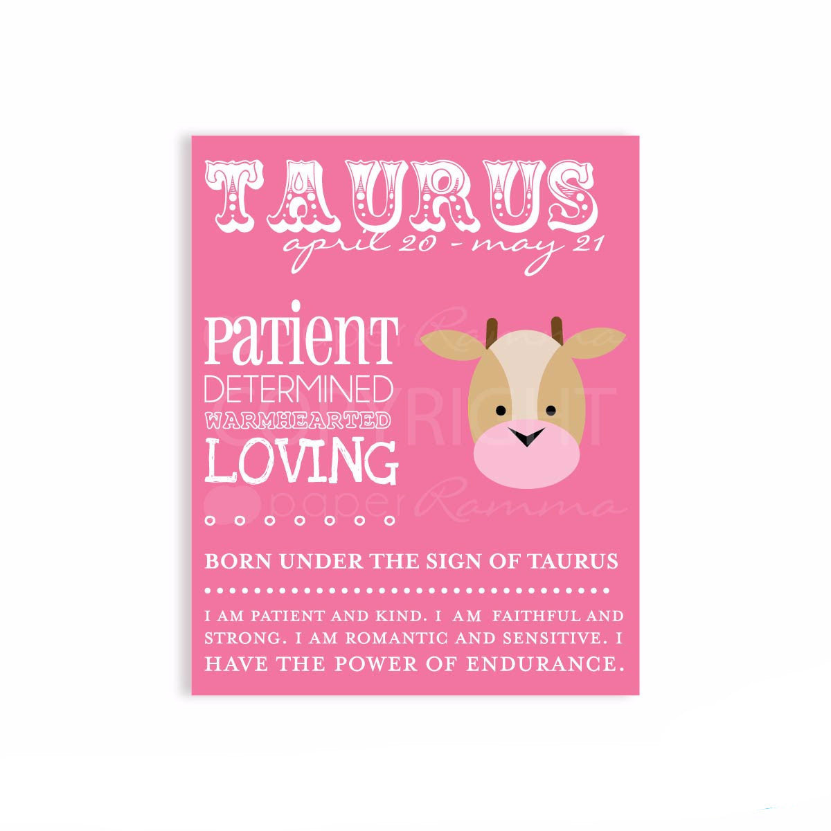 Zodiac Taurus Nursery Print</br> <small> <i> Nursery & Kids Art Print </i> </br> <small> available in 5x7 - 20x30 </small>