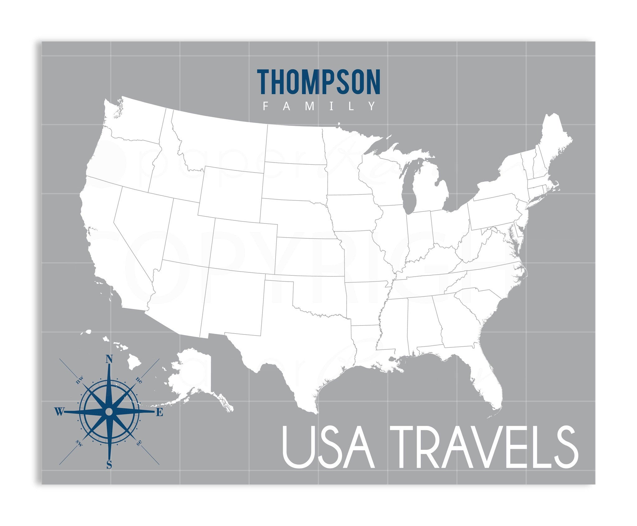 Traditional USA Travel Map