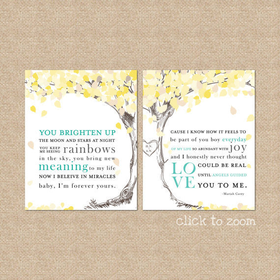 Wedding Tree Song Lyric Tree - Yours by Mariah Carey, Wedding Anniversary
