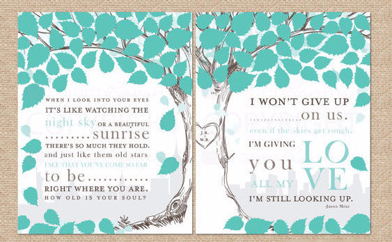 Wedding Tree Lyric Art, Wedding Anniversary
