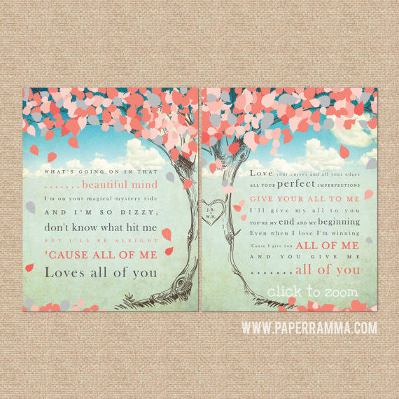 Personalized Wedding Song Lyric Tree, Wedding Anniversary