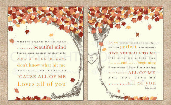 Fall Wedding Song Lyric Tree</br> <small> <i>Wedding prints </i> </br> <small> available in 8x10 - 18x24