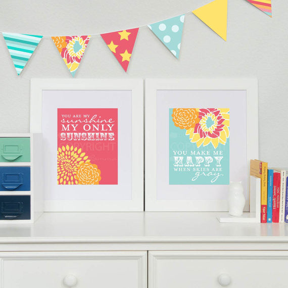 Girl Nursery Sunshine Lyric Art Nursery & Kids Art Print Set
