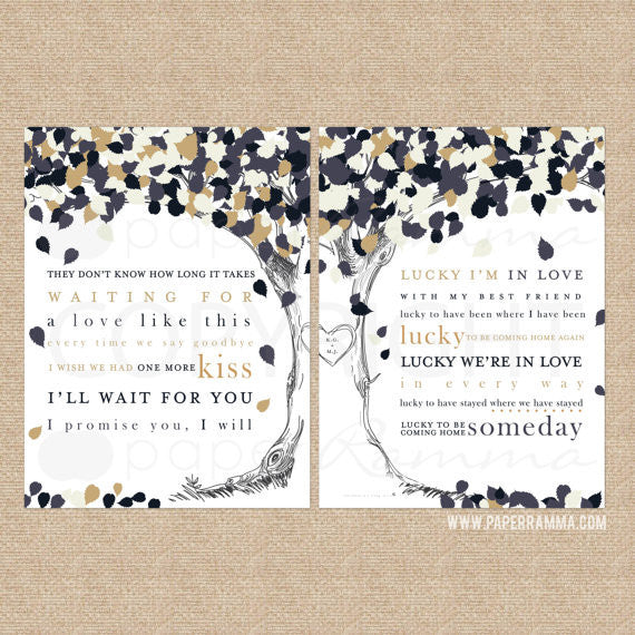 First Song Lyric Tree - Lucky by Jason Mraz & Colbie Caillat, Wedding Anniversary