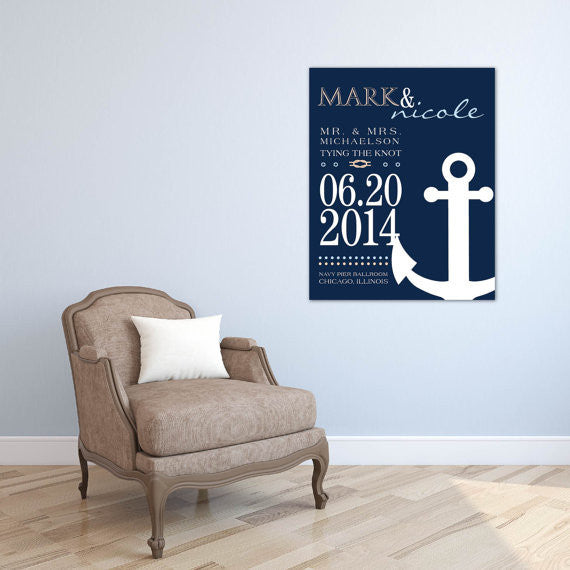 Tying the Knot Nautical Typography <br> <small> <i> Wedding Guestbook  </i> </br> <small> available in 8x10 - 20x30 </small>
