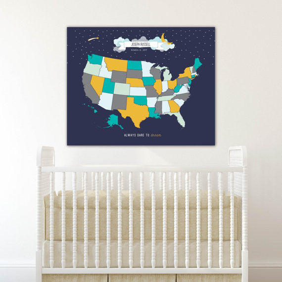 Starry world nursery travel map