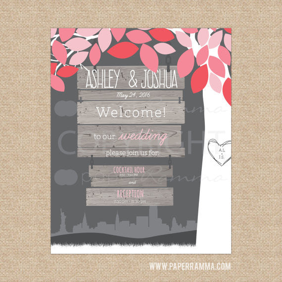Hanging Wedding Tree Welcome Sign