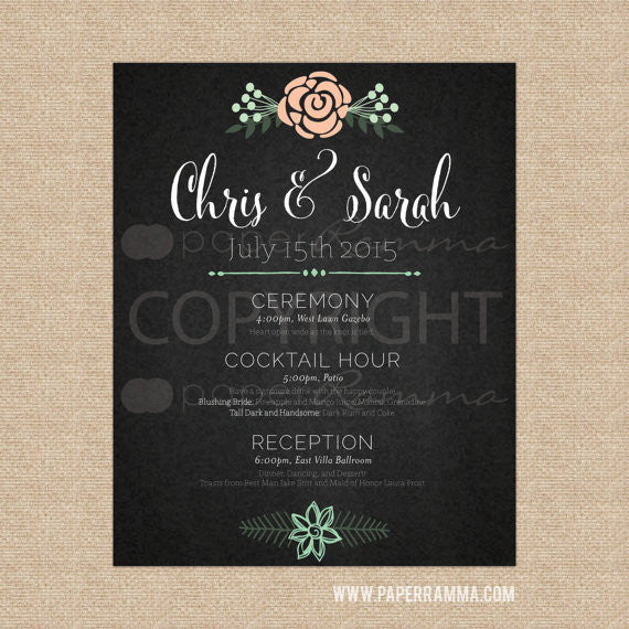 Trendy Wedding Schedule Welcome Sign <br> <small> <i> Wedding  Art Print </i> </br> <small> available in 16x20 - 20x30 </small>