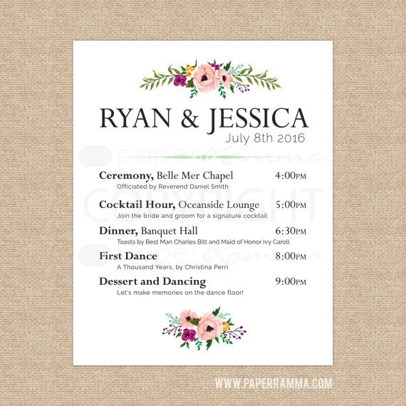 Classic Wedding Welcome Sign with Schedule