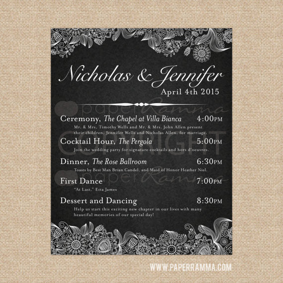 Elegant Wedding Welcome Sign with Schedule